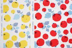 """イオン系列の手芸専門店パンドラハウス様よりnocogouがデザインを手がけた生地『nocogou-pilvi(ピルヴィ)』が発売されています。pilvi(ピルヴィ)とはフィンランド語で雲という意味でnocogouのロゴマークの木と雲☁︎よりネーミングしました。美味しそうに熟したトマトが並ぶ""""TOMATO""""... Food Packaging Design, Branding Design, Graphic Design Illustration, Illustration Art, Japanese Packaging, Posca Art, Alphabet Cards, Illustrations And Posters, Picture Design"""