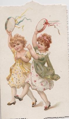 no front title, two girls hurry left waving ribboned tambourines,