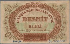 """Banknotes - Latvia, Michel Pick 4b-c,s - Rare SPECIMEN of 10 Rubli 1919 Series """"Bc"""" P. 4b-c,s, signature Purins, zero serial numbers, light handlin and creases in paper, no strong folds, no holes, one minor tear at upper left (4mm), rare note because there were no issued notes with the """"Bc"""" series and Purins signature combination, condition: VF+."""