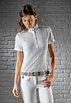 Alissa- #woman's #polo #shirt with a #diamond #pattern Highly refined italian #style #riding #equitation