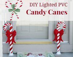 DIY For Christmas - Lighted PVC Candy Canes DIY Christmas Home Decor