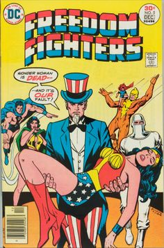 Rich Buckler provided us this rather patriotic crossover, The Freedom Fighters were dimensionally lost heroes from WWII - you might consider Wonder Woman one of them, I suppose. Here we have Uncle Sam holding Wonder Woman from the mid 70s - again, reverse position of the Pieta, but still evoking the same conditions.