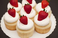 cupcakes with strawberry toppers