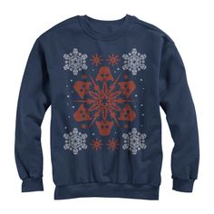 Star Wars Christmas Darth Vader Snowflake Womens Graphic Sweatshirt Made by #Fifth Sun Color #Navy Blue. Printed in the U.S.A.. Machine Washable. Printed With Eco-Friendly Inks. Fifth Sun. Slim Fit - Please Refer to Size Chart