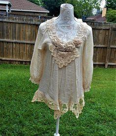 Altered Women's  Cotton Tan Blouse Size L Battenburg