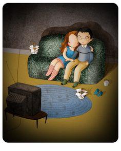 Custom Valentine's day illustration, Stasia Burrington - this is classic Stasia style. I love her work.