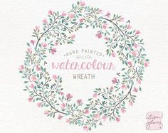 Watercolor wreath: hand painted floral wreath clipart /