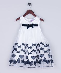 Another great find on #zulily! White & Navy Hearts Overlay Dress - Infant, Toddler & Girls #zulilyfinds