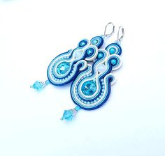 Blue Earrings Soutache Earrings Crystals and Beads by StudioGianna, $45.00