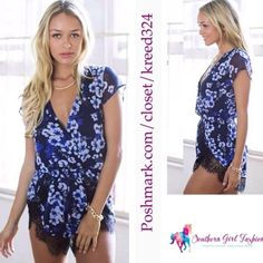 """LIONESS AUSTRALIA Romper Floral Print V Neck Lace Size US XS. New with tags. $95 Retail + Tax.   Gorgeous black and purple floral printed romper.  Elastic waist band. Lace detailing on shorts. Short sleeves. Crossover v neck.   Measurements for size XS: Length: 31.5"""" Bust: 33"""" Waist: 22"""" Waist extended: 25"""" Hips: 35""""  ❗️ Please - no trades, PP, holds, or Modeling.   ✔️ Reasonable offers considered when submitted using the blue """"offer"""" button.    Bundle 2+ items for a 20% discount!    Stop by…"""