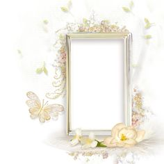 Beautiful Cream Transparent frame with Flowers