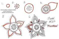 How to draw Paisley Flower 20 Picotee by Quaddles-Roost