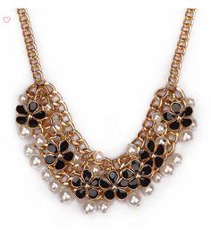 a018 little golden fragrant flowers bib necklace,shop at Costwe.com
