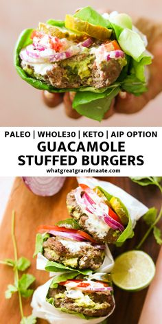 Guacamole Stuffed Burgers (Paleo, Keto, AIP Option) These and keto guacamole stuffed burgers are easy to make and packed with flavor. You'll love the taste of tangy guacamole with every bite! Guacamole Burger, Dieta Paleo, Paleo Diet, Paleo Food, Paleo Dessert, Grilling Recipes, Paleo Recipes, Dinner Recipes, Cooking Recipes