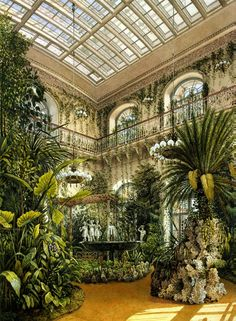 Inside Gardens: Types of Rooms in the Winter Palace, Winter Garden, The Hermitage-Konstantin Andreevich Ukhtomsky Gazebos, Patio Interior, 1920s Interior Design, Types Of Rooms, Atrium, Beautiful Places, Home And Garden, Inside Garden, Garden Kids
