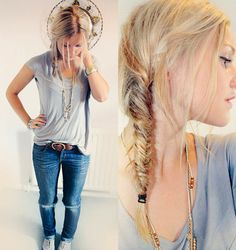 Hair & outfit.
