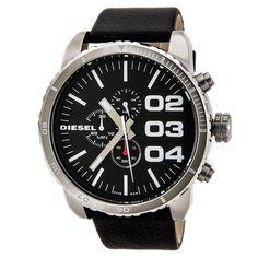 Diesel DZ4208 Men's Double Down 51 Black Dial Black Leather Strap Chronograph Watch,