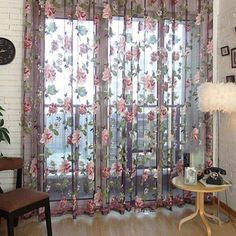 2PCS/Lot Rose Flower Curtains Anti Mosquito Mesh Net Tulle Drapes Sheer Panel Screen Door Kitchen Window Treatment Blind #Affiliate