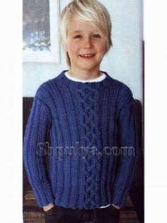 Синий пуловер с для мальчика, вязаный спицами