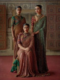 2019 Sabyasachi Charbagh Bridal Lehenga collection has a bunch of traditional red wedding lehengas some gorgeous destination wedding outfits lots Indian Bridesmaid Dresses, Indian Wedding Outfits, Indian Outfits, Indian Clothes, Red Wedding, Sabyasachi Sarees, Bridal Lehenga Choli, Anarkali, Handloom Saree