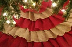 Ruffled Burlap Tree Skirt by PinnedThereDoneThat on Etsy