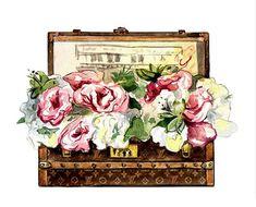 Watercolor Illustration Louis Vuitton 'Malle Fleurs' (Flower Trunk), c. 1920