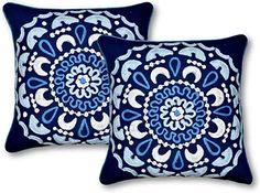SARO LIFESTYLE Provence Collection Dual Stripe Design Cotton Down Filled Throw Pillow Navy Blue