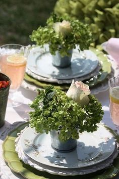 breakast outside awaits, sweet little table decor with greens & a rose bud