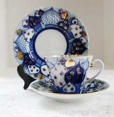 Vintage Lomonosov Porcelain Russian Domes Cup, Saucer, Dessert Plate. $75.00, via Etsy.