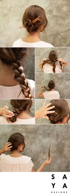 "How to do a ""Platted Bun"". Plait your hair centred from behind and twist it into itself into a bun. Choose either a firm or loose hold on it, take the hairpin and like a needle place it through the bun. You want to make sure its gone through multiple layers of the hair so it will feel secure. The hairpin used in this tutorial is the ""Soka Bud"" from our new collection now LIVE on Kickstarter."