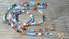 Glow in the Dark Glass Beads, Multi Color Strand, Colored Cores, Blue, Green, Black, Red, Orange, Fun DIY Beading - pinned by pin4etsy.com