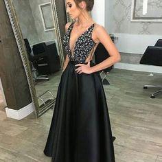 2018 deep v neck sleeveless shiny rhinestone floor length prom dresses  apd3092a Black Evening Dresses 33c16945899c