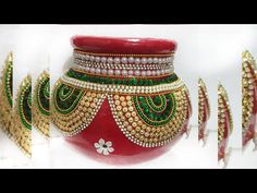 In this video we have made Handmade kalash .The material required to make this is very easily availabl. Kalash Decoration, Thali Decoration Ideas, Diy Diwali Decorations, Festival Decorations, Pottery Painting Designs, Pottery Designs, Paint Designs, Diwali Diy, Diwali Craft