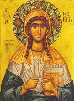 Science of the Saints, Sep.), St Thecla, The First Woman-Martyr Equal-To-The Apostles Religious Images, Religious Icons, Religious Art, Byzantine Icons, Byzantine Art, Mary Magdalene And Jesus, Images Of Faith, The Cross Of Christ, Orthodox Christianity