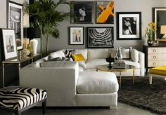 B/w and yellow living by Lillian August