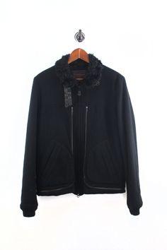 fb8bc12cc3ec Fur Lined Wool Biker Jacket