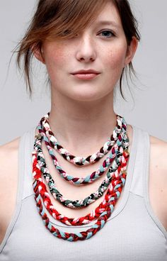 Multi Pop Braided Fabric Necklace