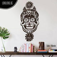 #Vinilodecorativo de una #calaveramexicana con un diamante y flores / #Mexicanskull #wallsticker with diamond and flowers