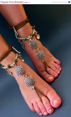 Barefoot sandals is made from turquoise gemstones, tibetan silvev charms and cotton cord . And its real strong . You can put it in water    Its