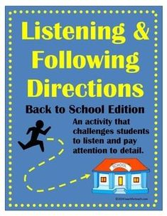 Listening Comprehension Activities, Reading Comprehension, Beginning Of The School Year, First Day Of School, Speech Therapy Activities, Listening Activities, Creative Thinking Skills, Social Thinking, Listening And Following Directions