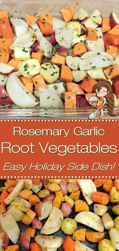 Rosemary Garlic Root Vegetables by Foodie Home Chef is the perfect Fall, Thanksgiving or Christmas side dish. This colorful, hearty & healthy comfort food also makes a great meal for Meatless Mondays! Roasted Vegetables | Roasted Root Vegetables | Side Dish Recipes | Vegetarian Recipes | Vegan Recipes | Healthy Recipes | Comfort Food | Healthy Side Dish | Holiday Side Dish | Holiday Recipes | Thanksgiving Recipes | Christmas Recipes | Meatless Mondays | #foodiehomechef @foodiehomechef Side Dishes For Chicken, Potato Side Dishes, Healthy Side Dishes, Vegetable Side Dishes, Side Dish Recipes, Christmas Recipes, Thanksgiving Recipes, Holiday Recipes, Holiday Side Dishes