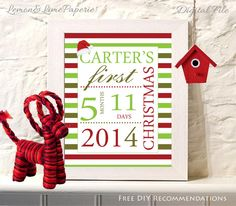 Personalized Baby's First Christmas Wall Art, Baby's First Christmas Gift, Christmas Keepsake, First Christmas Baby Gift - digital download