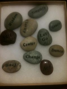 Stones were selected by participants (seeing the size and color) and then turned over to reveal a word to use as a talisman for throughout the retreat.  Amazingly, everyone thought the stone they picked randomly had the right word for them!