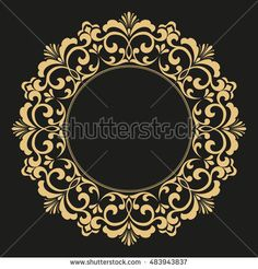 Decorative line art frame for design template. Elegant element for design in Eastern style, place for text. Golden outline floral border. Lace illustration for invitations and greeting cards