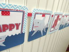 Personalized Shark Happy Birthday Banner, personalized with name and age on Etsy, $16.00