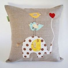 Children's Organic Linen Pillow Cover/ Elephant with Birds/ Good to Have a Strong Friend/ Safari/ Natural Nature Inspired/ Made To Order by dagmarsdesigns on Etsy Cute Pillows, Diy Pillows, Linen Pillows, Decorative Pillows, Cushions, Throw Pillows, Fabric Crafts, Sewing Crafts, Sewing Projects