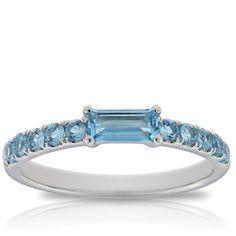 Blue Topaz Baguette Ring 14K