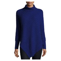 Neiman Marcus Cashmere Turtleneck Cable Knit Tunic, Medium Blue ($275) ❤ liked on Polyvore featuring tops, tunics, blue top, turtle neck top, turtleneck pullover, long tops and long turtleneck