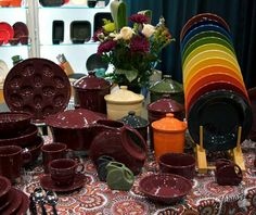 Claret Fiesta® Dinnerware display at the  Homer Laughlin China Company booth, 2016 International Home + Housewares Show, Chicago | Fiesta Dinnerware Facebook