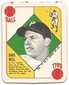1951 Topps Red Backs Dave Bell #17 Baseball Card-VG+ RC-Free USA Ship #PittsburghPirates